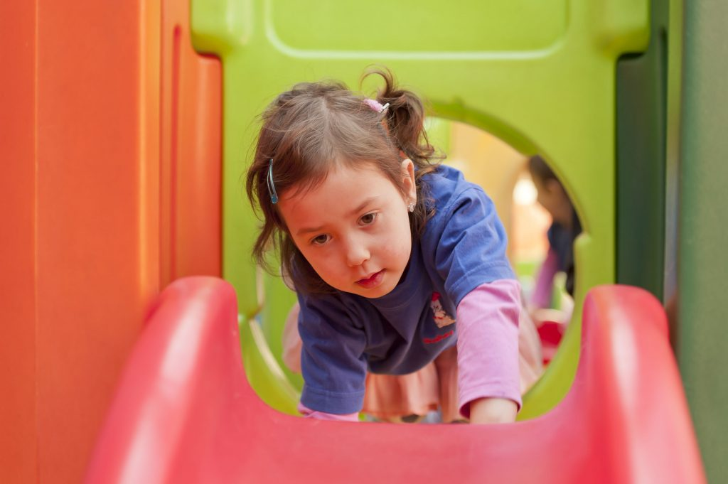 Playtime on the slide in in Gan Nursery, & pre-school in the Bushey United Synagogue